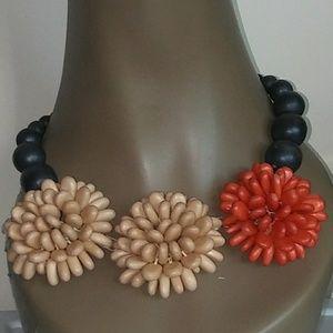 Vintage Red Cream Black Flower Necklace